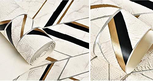 Pared Papel Pintado,No Tejido Papel Pintado,Rayas geométricas flocadas nórdicas Oro negro,Papel Pintado Rollo Para Decoración Del Hogar Para El Hogar Tienda Bar