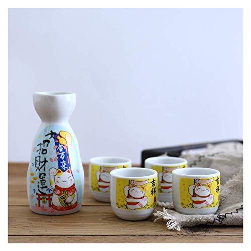 Barm Juego de Vino de 5 Piezas Juego de Sake de cerámica Maneki Neko japonés (1 Botella TOKKURI de 200 ml y 4 Tazas OCHOKO) Vasos Lucky Cat (Color: 1)