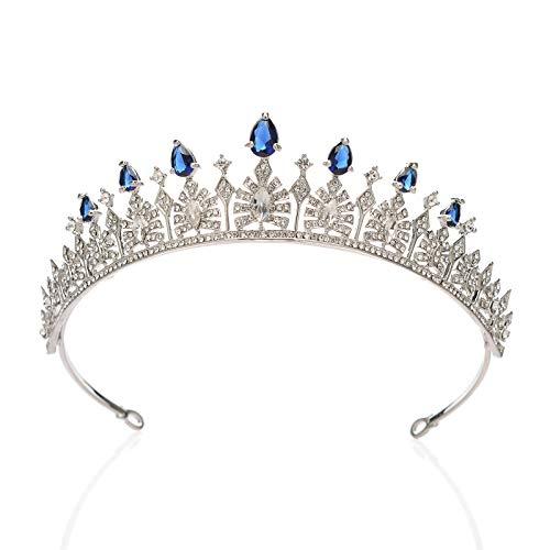 SWEETV Kristall Hochzeit Tiara für Braut - Strass Prinzessin Tiara Stirnband Brautkrone Brautschmuck Haarschmuck für Frauen und Mädchen, Blau