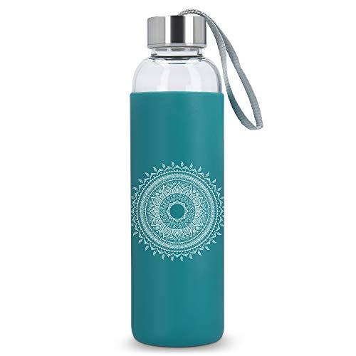 Navaris Botella de Agua de Vidrio Reutilizable - Cantimplora de borosilicato con Funda de Silicona - Botellín de Cristal sin BPA 550 ML - Sol hindú