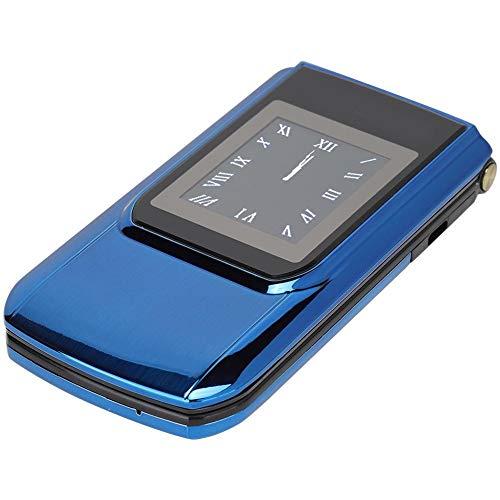 Sxhlseller Interior HD de 2,6 Pulgadas Teléfono Plegable con Pantalla Táctil - Teléfono de Doble Modo de Espera con Tarjeta SIM Dual Batería de Gran Capacidad Integrada de 3800 mah(UE Azul)