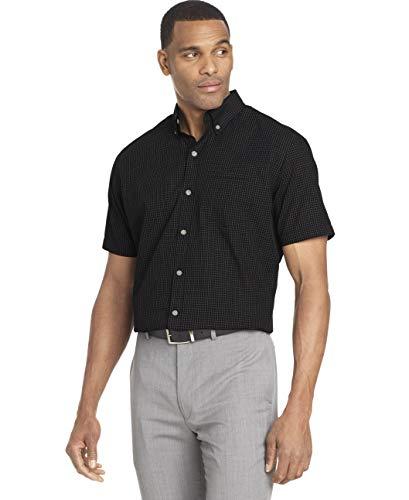 Van Heusen Men's Wrinkle Free Short Sleeve Button Down Check Shirt, Black Minicheck, XX-Large
