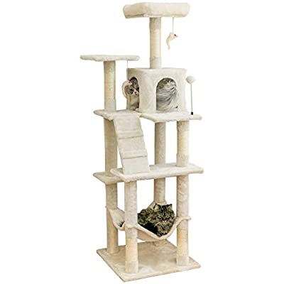 MWPO 63.8 inches Multi-Level Cat Tree for Large Cats with Sisal-Covered Scratching Posts, Padded Platform, Hammock and Condo,Stable Cat Tower Cat Condo Pet Play House-Beige