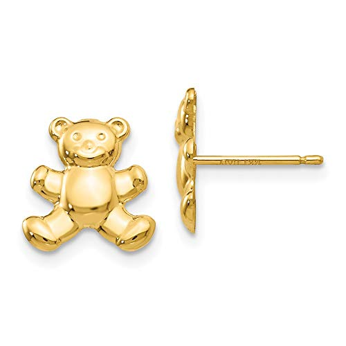 Saris and Things Pendientes del Anuncio Oso de Peluche 14k Oro Amarillo