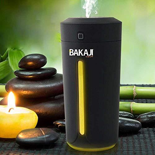 Bakaji Umidificatore Ambiente Diffusore Aromi USB con Luce LED 7 Colori Profumo Ambiente Aromaterapia Portatile Casa Auto Serbatoio 230 ml (Nero)