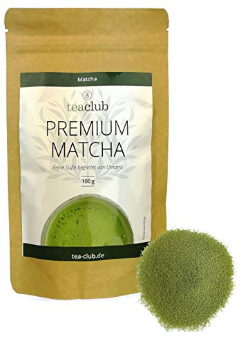 Premium Grade Matcha Tee Japan 100g, Cremig mit Umami, Japanischer Grüner Tee 100{853b21e7ee8fc91fa0ca05b1ae5ba3f84ea32e6034f2d3cccb4f10a114cd7e68} Natürlich Grüntee-Pulver, Tea-Club
