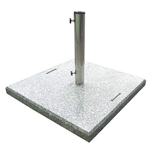 Pure Home & Garden 90 kg XXL Granit Schirmständer Rock, mit Rollen und Reduzierringen