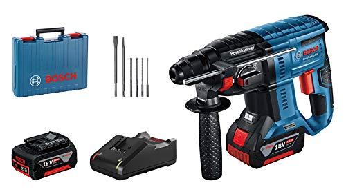 Bosch Professional 18V System Martillo perforador GBH 18V-21, Velocidad de giro 0-1800 min-1,2 baterías GBA 18V 5,0Ah + cargador GAL 18V-40, juego de brocas y cinceles 6 piezas,- Amazon Edición