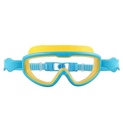 Yuhualiyi123 Schwimmbrille Kinder 3/13 Jahre UV Schutz + Schwimmbrille Fall (Color : Blue-Yellow)
