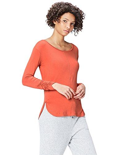 Marca Amazon - find. Camiseta de Manga Larga y Cuello Redondo Mujer, Naranja (Rust), 42, Label: L
