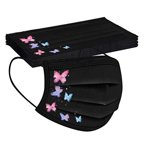 Jiujiuwanli 10 Stück Erwachsene Einmal Mundschutz Lustig Schmetterling Motiv Schwarz 3 Lagig Atmungsaktiv Bandana mit Nasenbügel Halstuch für Damen Männer