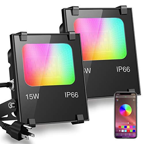 LED Flood Light 100W Equivalent RGB Color Changing, Outdoor Smart Floodlights RGBW 2700K Warm White...