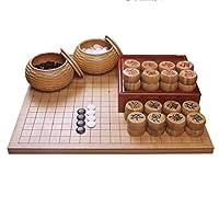 両面ボード中国チェスと囲碁ゲームセット囲碁2人用の中国のWeiqi戦略ボードゲーム19x 19囲碁セットインクルードボウル(パズルエンターテインメントファミリー)