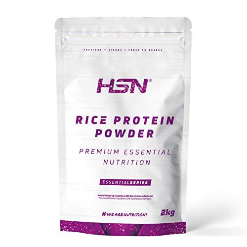 Proteína de Arroz de HSN | Proteína Vegana Concentrada de Arroz Integral | Rice Protein Powder | Recuperación + Masa Muscular | Sin Azúcar, Sin Lactosa, Sabor Natural, 2 Kg 🔥
