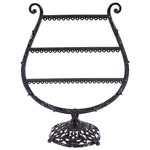 Exceart Sieraden Torens Wijnglas Vormige Oorbel Display Rek Ijzer Metalen Ketting Houder Standaard Voor Oorsteker Haak Oorbel Hanger Sieraden Organisatie Zwart