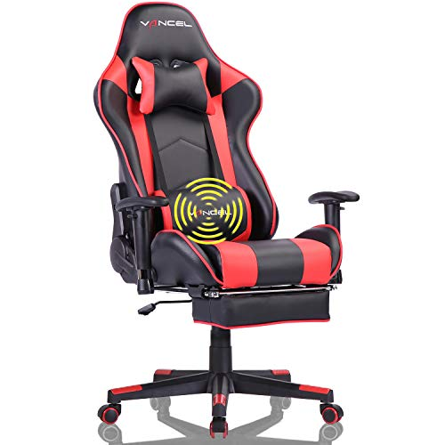 Gaming Chair with Footrest Gamer Chair Computer Chair Massage Gaming Chairs High Back Ergonomic Adjustable Office Chair with Headrest and Lumbar Support (Red)
