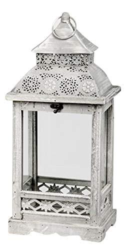 dekojohnson Orientalische Deko-Laterne Holzlaterne Bodenlaterne Vintage Antik Grau/Weiß Rustikal Retro Lampe Metalldach 48x22x16cm