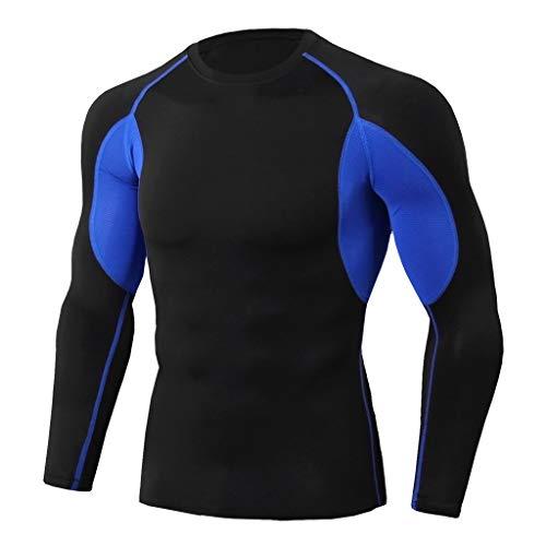 ANJUNIE Herren Muskelaktivpullover Workout Fitness Sport Laufen Yoga Athletic Shirt Top Sweatshirt Bluse - Schwarz - XXX-Large