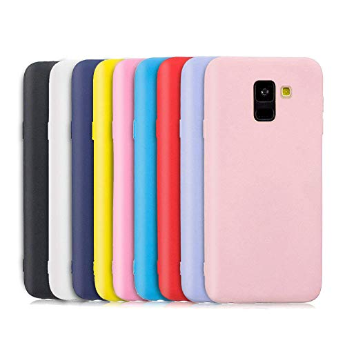 TVVT 9X Funda para Samsung Galaxy J6 2018, Ultra Delgado Color Carcasa Premium Ultraligero Suave Silicona TPU Protectora Espalda Case Cover Anti-Rasguños Anti-Choque