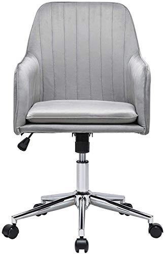 Nbpls Grey Samt Home Office Chair Ergonomische Schreibtisch Chair Executive Stuhl Verstellbare Computerstuhl mit Waffen und Rückenstütze Drehstuhl Rezeption Stuhl Rütteln 360 ° Stuhl