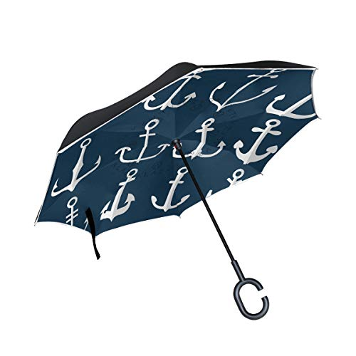 LINDATOP Anchor Icons Regenschirm umgekehrt automatisch öffnen doppellagig winddicht UV-Schutz umgekehrt Regenschirm für Auto Regen Outdoor