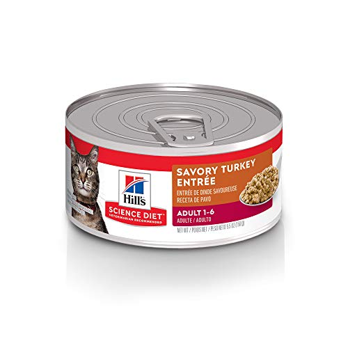 Hill's Science Diet Wet Cat Food, Adult, Savory Turkey Recipe, 5oz Cans, 24 Pack