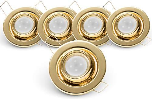 Brollux LED Deckenleuchten 5er Set, Runde LED Strahler, Schwenkbare LED Einbaustrahler in warmweiß, Austauschbare LED Beleuchtung MR11 GU10, 2,4W, 230V Gold klein