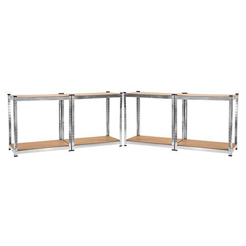 TecTake Werkstattregal mit 8 Ablagen 640kg Gesamttraglast Steckregal Lagerregal Werkbank Garage 160x160x40cm - 5