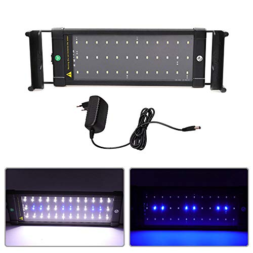 MLJ Aquarium LED Beleuchtung 6W/11W/18W, mit Verstellbarer Halterung Lampe für 30cm-45cm/50cm-70cm/70cm-90cm (30-45 cm, 6W 40A, Blau + Blau & Weiß)