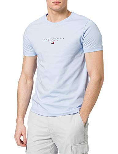Tommy Hilfiger Essential Tommy tee Camiseta, Azul Dulce, L para Hombre