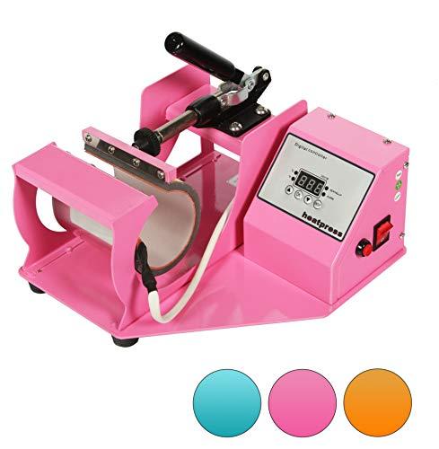 RICOO M505-LP Tassenpresse Transferpresse Klein Mini Transferdruck Krugpresse Thermopresse Sublimationspresse für Flexfolie und Flockfolie Hebelpresse mit Zylinder Heizelement/Rosa Pink