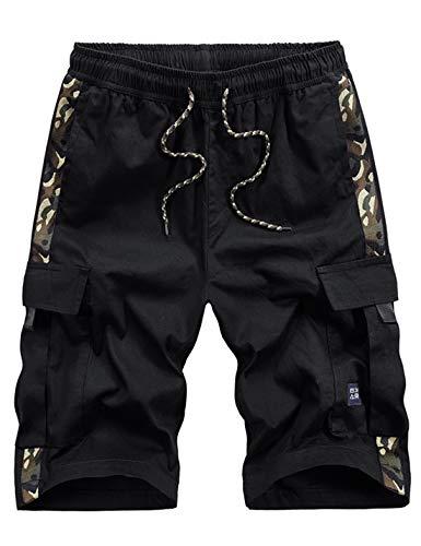 APTRO Herren Shorts Arbeitsshorts Baumwolle Cargo Shorts Outdoor Sommer Freizeit Kurze Hose Camouflage Schwarz XL