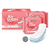 AIRQUEEN (Panty Liner Long 2 Pack / 40 Total) Real Breathable Certified 100% Organic Cotton Menstrual Pads for Period - Ultra Slim & Super Absorbency Sanitary Napkins
