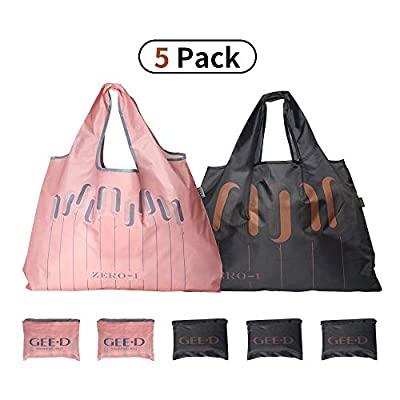 Large Reusable Grocery Bags Foldable Shopping Bags Fashionable Tote Bags Ripstop Waterproof Machine Washable Durable and Lightweight Oxford Fabric Bags (BLACK + PINK, 5)
