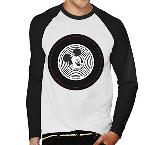 Disney Mickey Mouse Rocks Vinyl Men's Baseball Long Sleeved T-Shirt