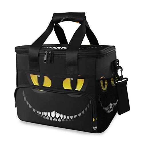Mooie Monster glimlach in de nacht schouderriem ijszak lunch tas draagbare reis picknick koelbox