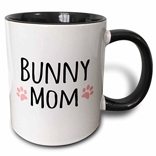 3dRose Bunny Mom Mug, 11 oz, Black