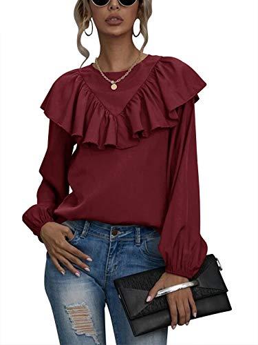Auxo Mujeres Cuello Redondo Linterna Manga Larga Tops Color Sólido Capa Volantes Casual Blusa Gasa Suelta Camisa Túnica Blusa Talla Grande 03-Vino Rojo S