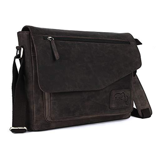 TUSC Triton Braun Leder Tasche Laptoptasche bis 17 Zoll Herren Umhängetasche Aktentasche Schultertasche für Büro Notebook Messenger Bag Laptop iPad, Größe- 41x31x12 cm