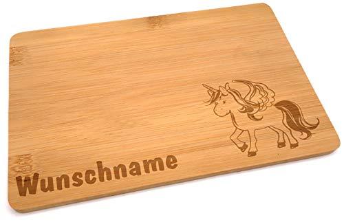 Samunshi® Holzbrett mit Gravur Einhorn aus Bambus Brett Frühstücksbrettchen Kinder als Holz Schneidebretter Holzbrett Küche Vesperbrett mit Motiv