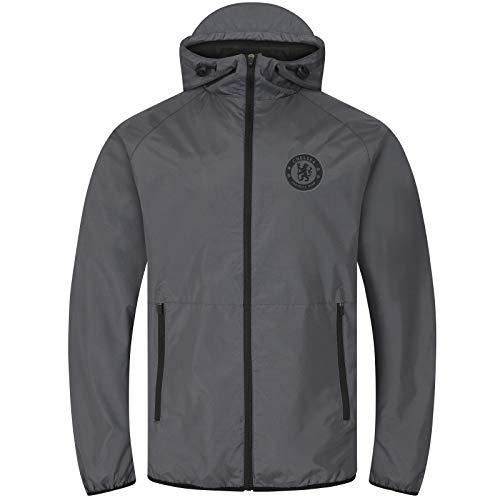 Chelsea FC - Herren Wind- und Regenjacke - Offizielles Merchandise - Grau - Kapuze mit Schirm - M
