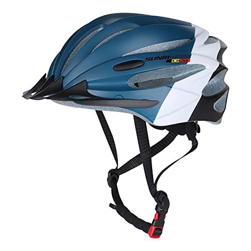 Fahrradhelm Herren, Fahrradhelm Damen MTB Helm mit Sonnenschutzkappe für BMX Skateboard Mountain Road Bike, Verstellbarer Helm Fahrrad 57-61cm (Blau)