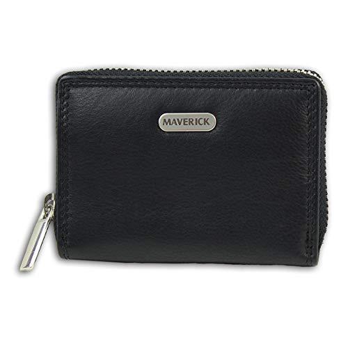 Maverick Portemonnaie quer Rundum-Reißverschluss schwarz Damen OPD1130S Leder Portemonnaie