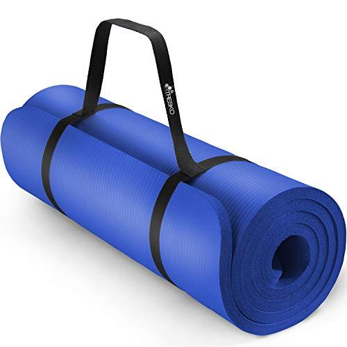 TRESKO Yogamatte Phthalatfrei - Gymnastikmatte rutschfest, Pilatesmatte Fitnessmatte mit Tragegurt, 185 x 60 x 1,0 cm
