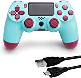 Game Controller for PS4, Wireless Controller for Play Station 4 with Dual Vibration Game Joystick(Light Blue, NOT-OEM)
