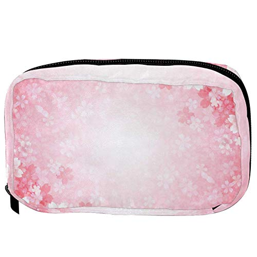 TIZORAX Cosmetic Bags Cherry Flowers In Pink Handy Toiletry Travel Bag Organizer Makeup Pouch for Women Girls