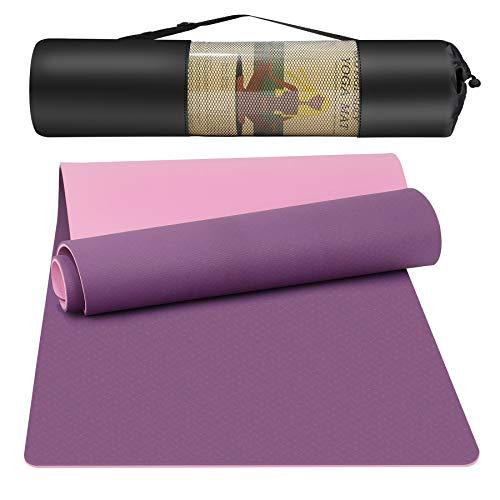 Yogamatten Gymnastik Fitnessmatten TPE Yoga Mat Jogamatte mit Tragegurt/Netztasche Übungsmatte rutschfeste Outdoor Sportmatte für Pilates Turnmatte Training Yogamatte 180 x 61 x 0.8 cm Rosa + Lila