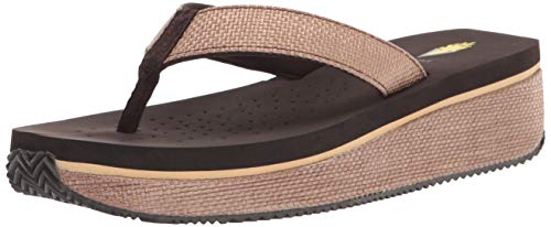 Volatile womens Thong Wedge Sandal, Brown, 11 US