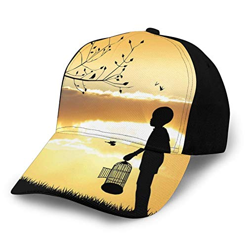 Printed Baseball Cap,Little Child Silhouette with A Bird Cage At Sunset In Forest Rural Trees Birds,Hat for Men Women Teens