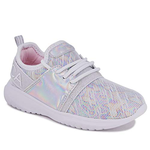 Nautica Missy Youth Girls Athletic Fashion Cross Trainer Lace Up Running Sneakers-Kappil Metallic-White Silver Multi-13